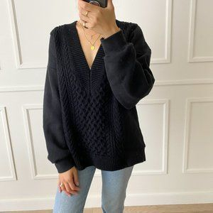 T by Alexander Wang V-Neck Cable Sweater - XS